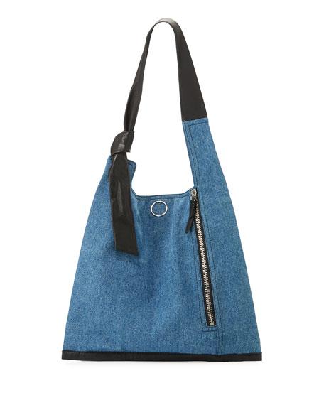 3.1 Phillip Lim Elisa Leather-Trim Denim Shoulder Bag,