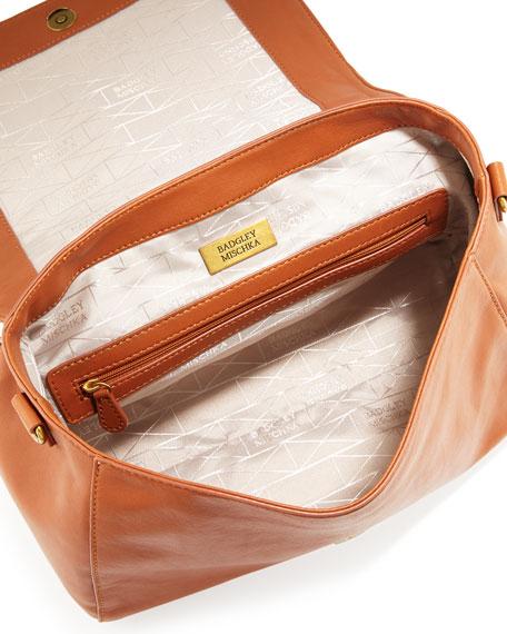 Frankie Quilted Satchel/Crossbody Bag, Cognac