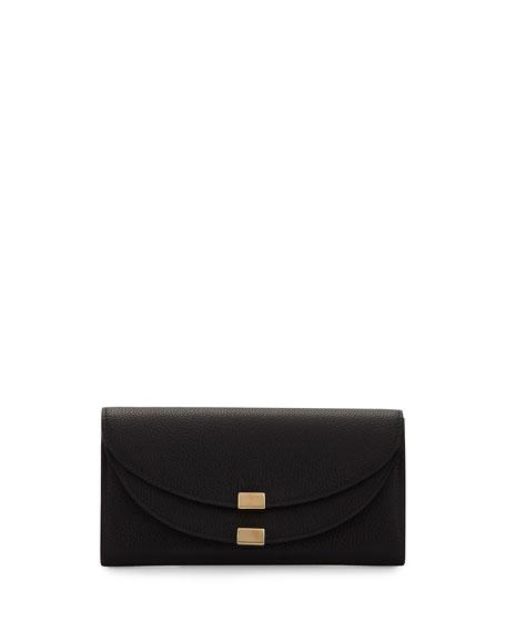 Chloe Georgia Leather Flap Wallet, Black