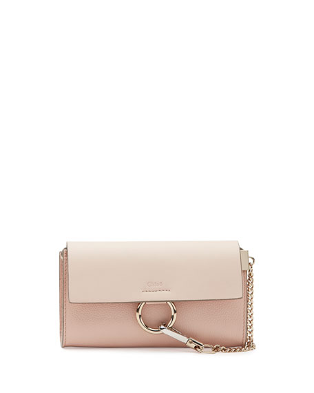 Chloe Faye Leather Wallet-on-a-Strap, Light Pink