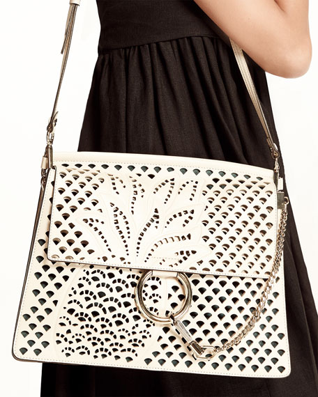 Faye Medium Perforated-Pineapple Shoulder Bag