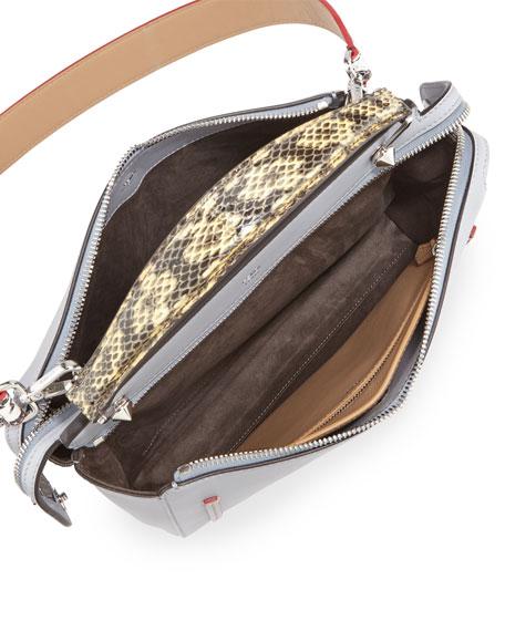 Dotcom Medium Snakeskin-Trim Satchel Bag, Light Blue
