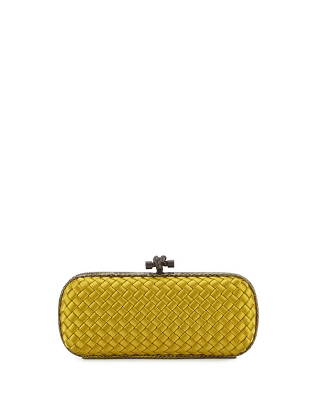 Bottega Veneta Knot Satin Elongated Minaudiere, Ancient Gold