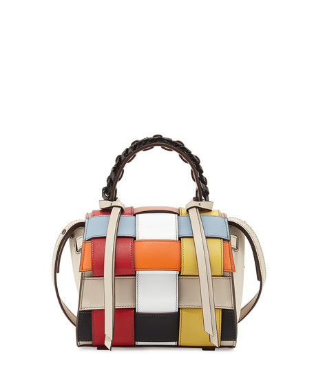 Elena Ghisellini Angel Mini Woven Top-Handle Satchel Bag,