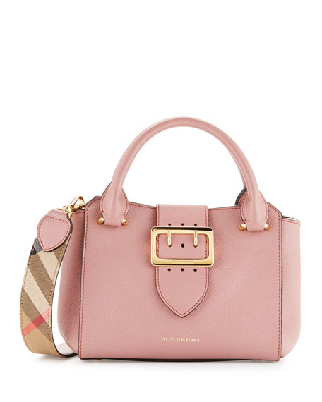 Burberry Buckle Small Leather Tote Bag, Dusty Pink