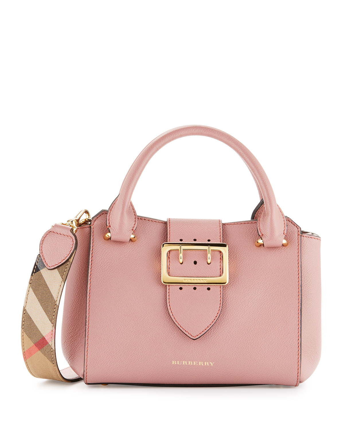Buckle Small Leather Tote Bag Dusty Pink