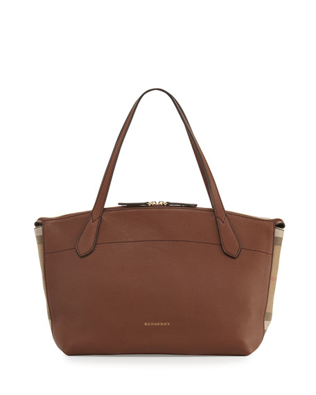 Burberry Welburn Medium Leather & Check Tote Bag,