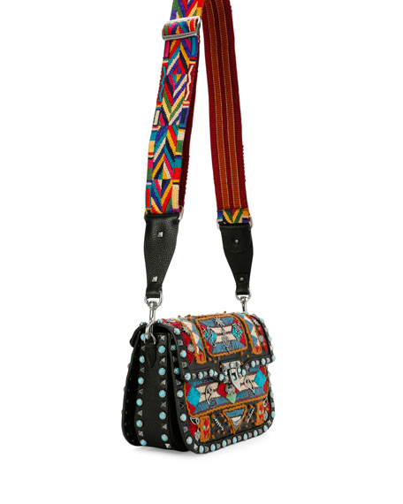 Rockstud Rolling Glam Santeria Medium Shoulder Bag, Multicolor/Black/Light Cuir