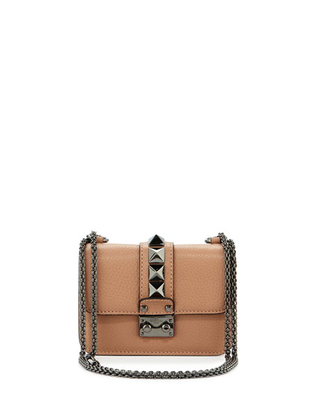 Valentino Garavani Lock Micro Mini Shoulder Bag, Beige