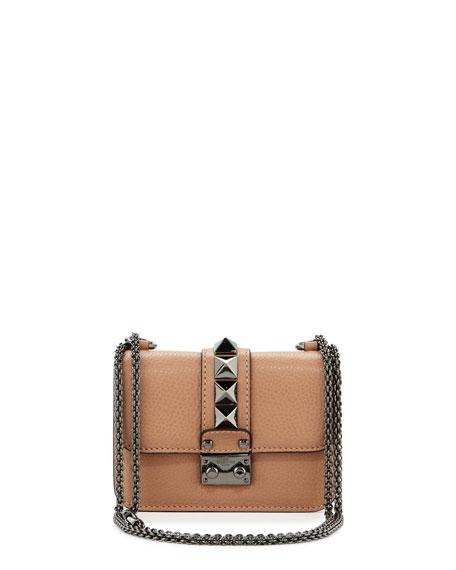 Valentino Garavani Lock Micro Mini Shoulder Bag, Beige