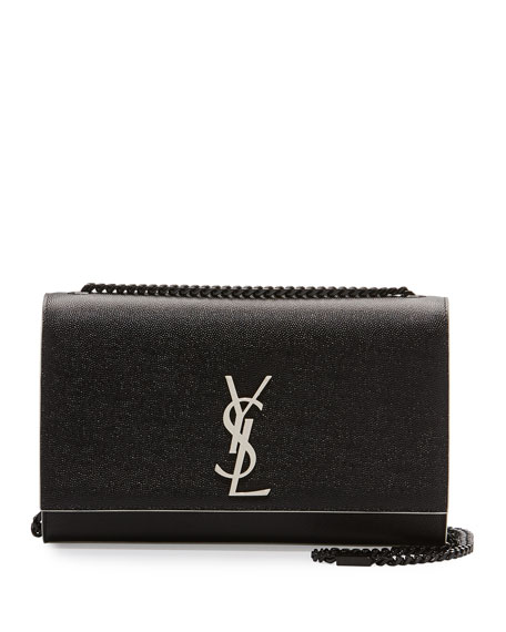 Saint Laurent Kate Monogram Medium Crossbody Bag, Black/White