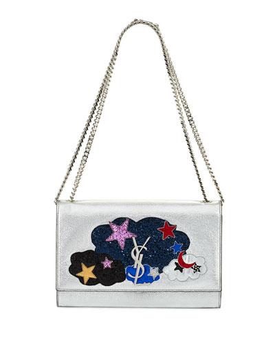 Kate Monogram Medium Cloud Chain Shoulder Bag, Silver/Multi