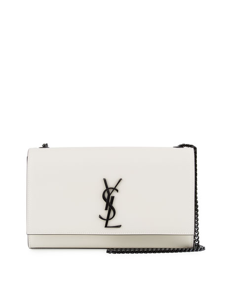 Saint Laurent Kate Monogram Medium Crossbody Bag, White/Black
