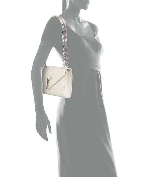 Kate Monogram Medium Mixed-Matelassé Chain Shoulder Bag, White