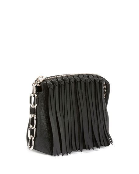 Attica Flap Fringe Crossbody Bag, Black