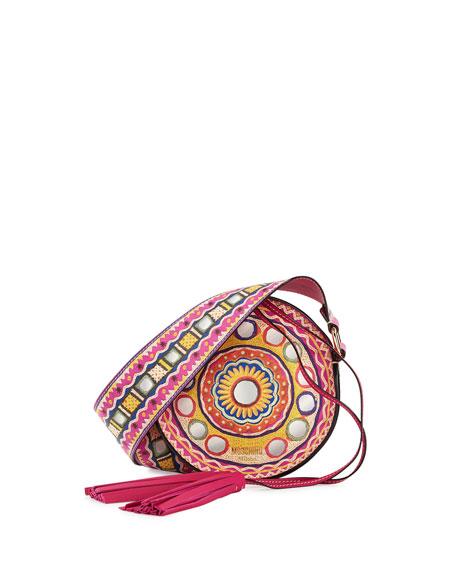 Printed Round Tassel Shoulder Bag, Pink/Multi