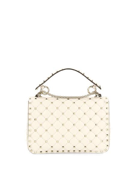 Rockstud Quilted Medium Shoulder Bag, Light Ivory