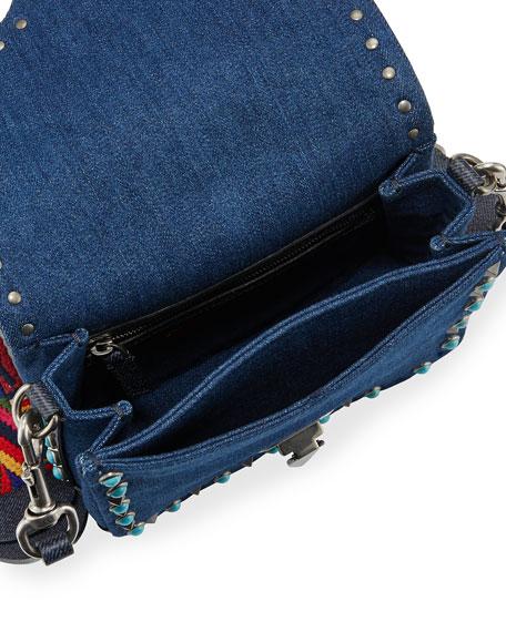 Rockstud Rolling Small Denim Guitar-Strap Crossbody Bag
