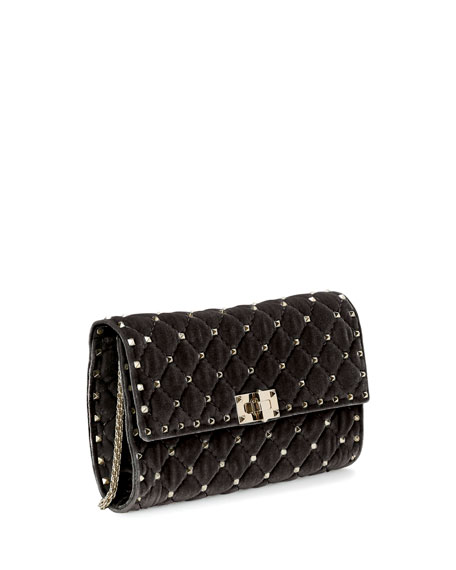 Rockstud Spike Velvet Chain Bag, Black