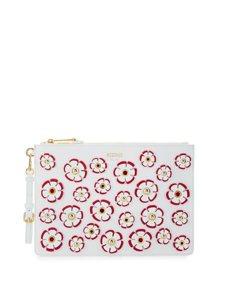 Flower Appliqué Flat Clutch Bag, White/Multi