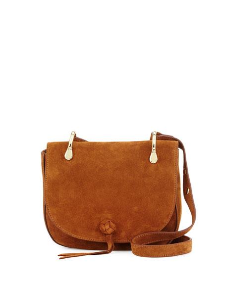 Zoe Suede Saddle Bag, Tan