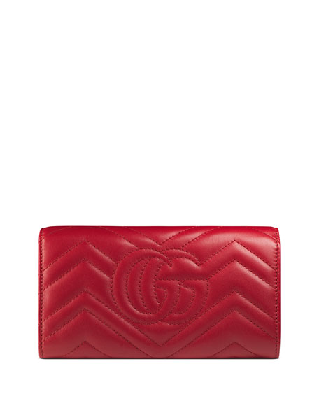 Gucci GG Marmont Medium Quilted Flap Wallet, Red