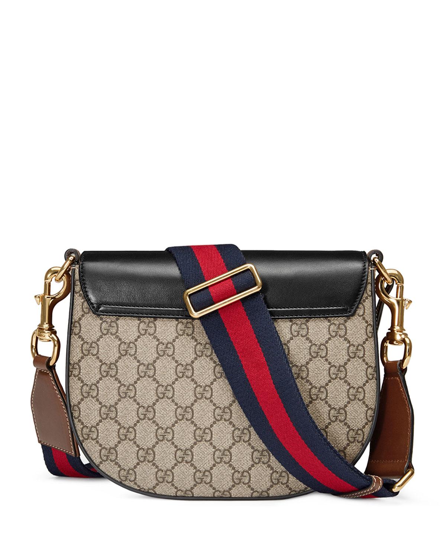 ac86e0f90 Gucci Padlock Medium GG Supreme Saddle Bag, Black | Neiman Marcus