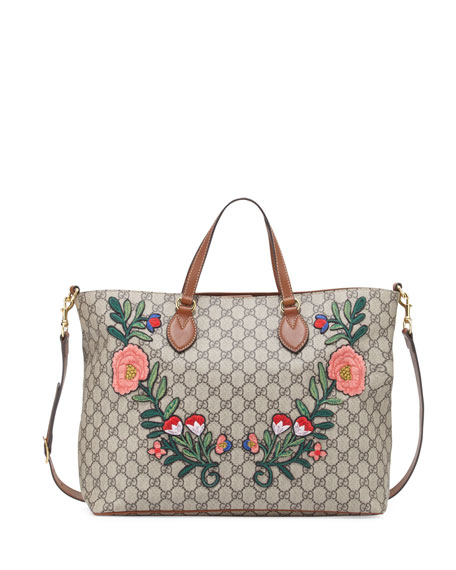 Gucci GG Supreme Embroidered Top-Handle Tote Bag, Multi