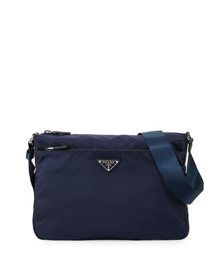Prada Vela Nylon Shoulder Bag, Blue (Baltico)