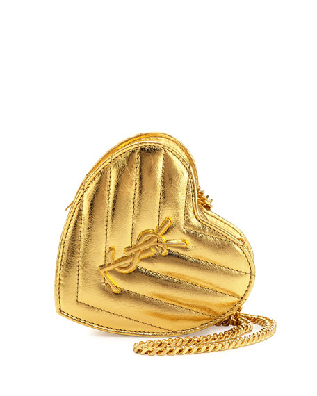 Saint Laurent Love Mini Heart Crossbody Bag, Gold