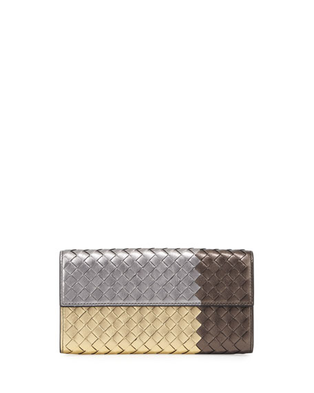 Intrecciato Flap Continental Wallet, Gold/Pewter