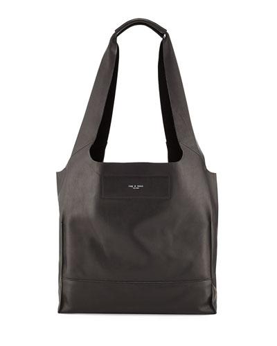 Walker Leather Shopper Hobo Bag, Black