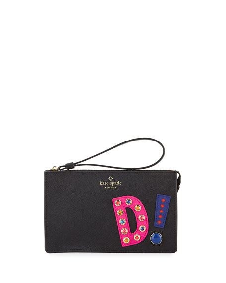 "hartley lane leila ""d"" initial wristlet, black"