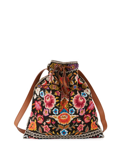 Anaya Embroidered Drawstring Tote Bag