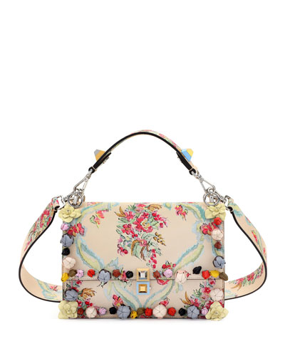Kan I Aubusson-Print Leather Shoulder Bag