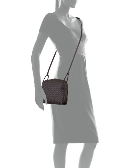 Intrecciato Messenger Bag, Dark Brown