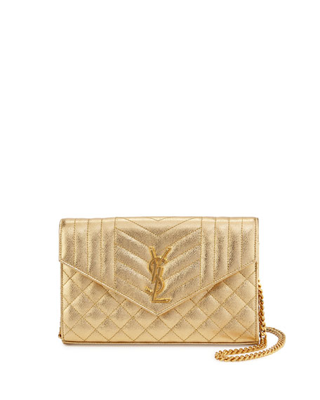 Monogram Tri-Quilted V-Flap Wallet-on-Chain, Gold