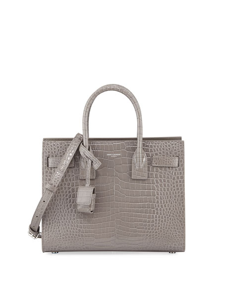 Saint Laurent Sac de Jour Nano Crocodile-Embossed Leather