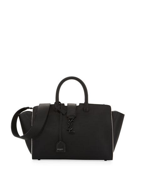 Saint Laurent Downtown Cabas Small Satchel Bag, Black/White