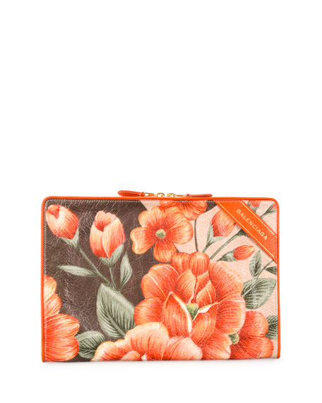 Balenciaga Blanket Floral Leather Pouch