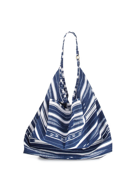 Striped Canvas Beach Tote Bag, Designer Jeans Blue