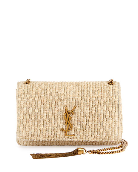 Saint Laurent Kate Monogram Medium Raffia Chain Shoulder Bag, Neutral