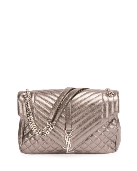 Saint Laurent Monogram Large Chain Tri-Quilt Envelope Shoulder