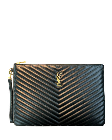 Saint Laurent Monogram Large Chevron Quilted Flat Wristlet Pouch, Black