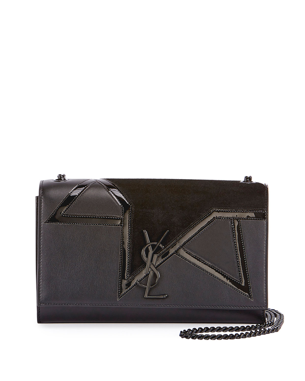 Saint LaurentKate Monogram Medium Suede Star Chain Shoulder Bag, Black c0a0330036