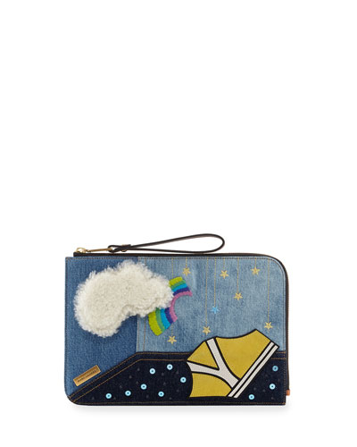 Clouds Flat Pouch Bag, Blue/Multi