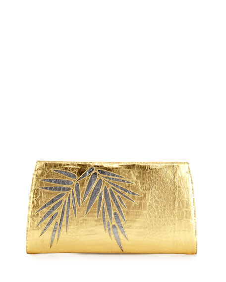 Nancy Gonzalez Bamboo Crocodile Slicer Clutch Bag
