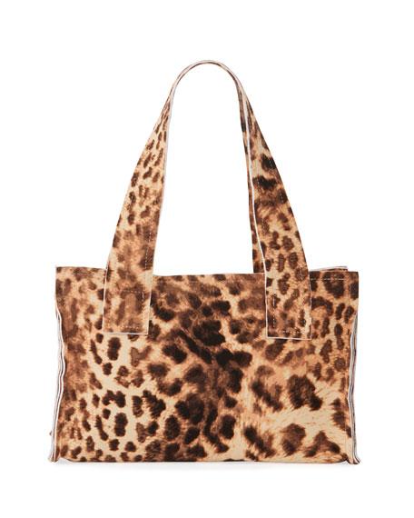 Norma Kamali Caramel Leopard Print Handle Clutch Bag