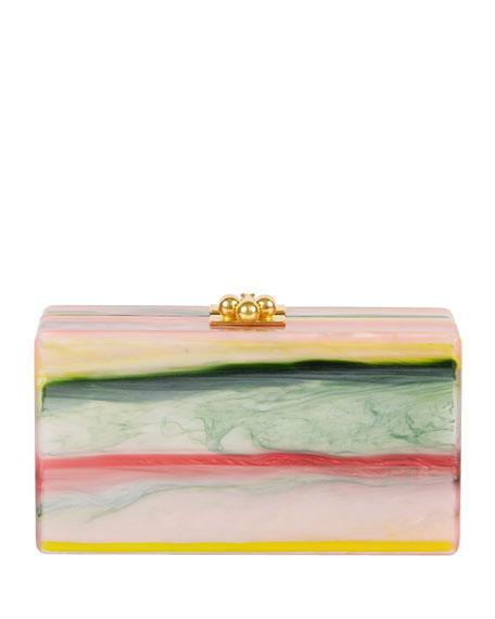 Jean Rippled Resin Clutch Bag, Pink