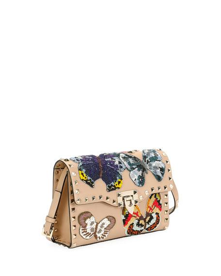 Rockstud Embroidered Shoulder Bag, Camel